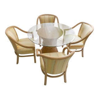 1960's Faux Bamboo McGuire Table Dining Set For Sale