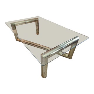 Karl Springer Glam Mid Century Modern Tubular Brass Z Coffee Table
