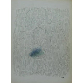 Vintage Mid Century Modern French Abstract Drawing Art by Joseph Iliu For Sale
