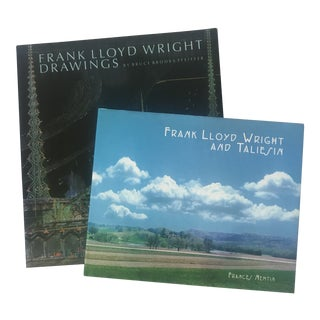 First Edition Frank Lloyd Wright Design/Photo Books - a Pair For Sale