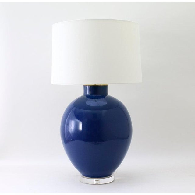 """The VALENTINE lamp is shown in our Glossy Cadet Blue glaze. Signed by Paul Schneider. Lead time three weeks. LAMP BODY 20""""..."""