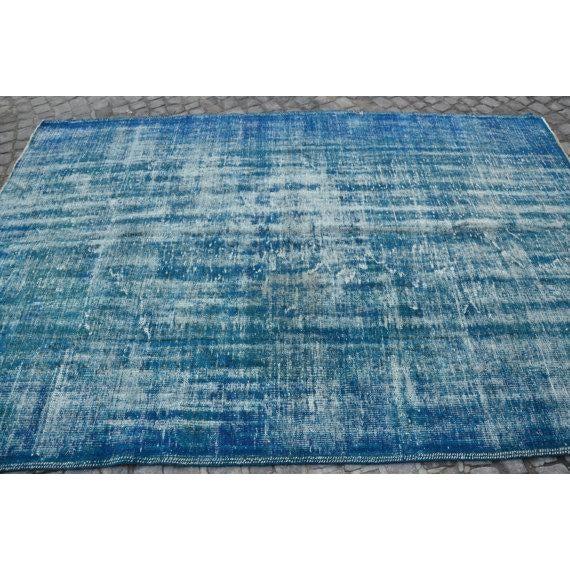 Vintage Handwoven Turkish Oushak Blue Rug - 6′2″ × 9′6″ - Image 4 of 6