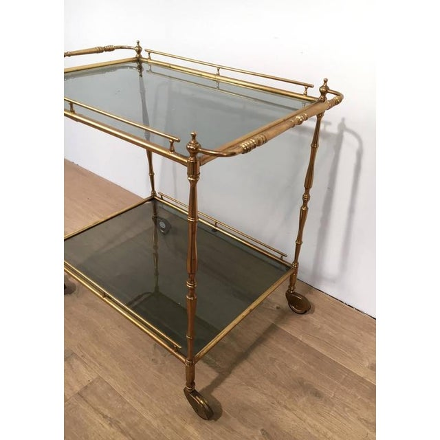 French 1960s French Brass and Glass Rolling Cart For Sale - Image 3 of 7