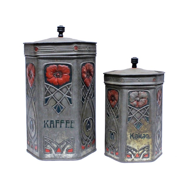 Antique Art Nouveau Coffee & Cocoa Tins - A Pair - Image 1 of 5