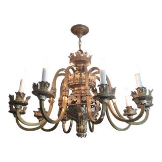 Vintage Antique French Ten Arm Chandelier For Sale