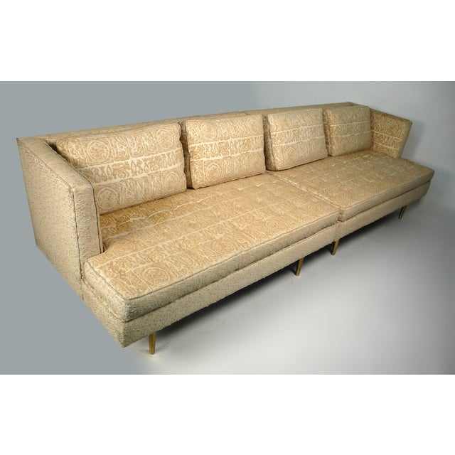 Two-piece Dunbar sofa model number 4908 designed by Edward Wormley. This low profile sofa has down-filled cushions and...