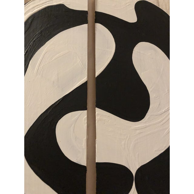 Hannah Polskin original 2019 black and white abstract acrylic painting on wood. Ying yang motif with monochrome color...