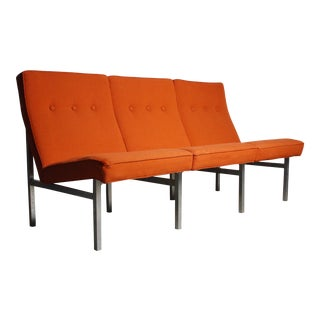 Three Seat Sofa / Bench in Original Orange Upholstery on a Chrome Base in the Manner of Florence Knoll For Sale