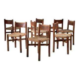 Charlotte Perriand set of 8 oak Courchevel dining chairs, France, 1940s For Sale