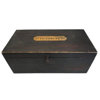 """19thc Original Painted Document Box Signed """" t.w.heath """" Vermont 1810 For Sale"""