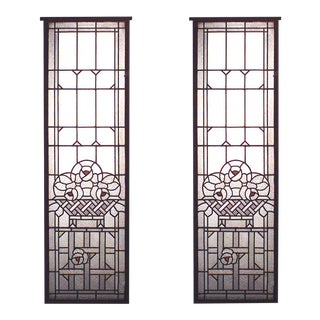 French Victorian Leaded Glass Windows For Sale