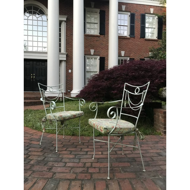 1960s Muted Green Iron Bistro Chairs With Rope Swag Design Credited to Tomaso Buzzi - a Pair For Sale - Image 4 of 12