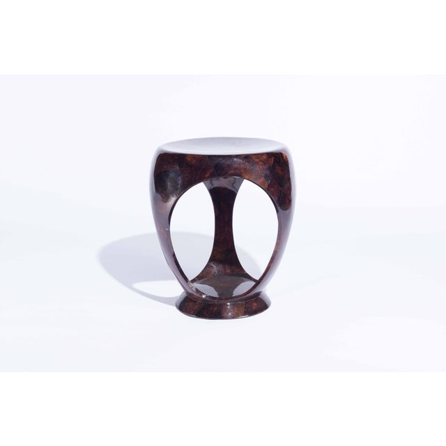 Art Deco Ring Stool in Black Shagreen and Bronze-Patina Brass by R&y Augousti For Sale - Image 3 of 13