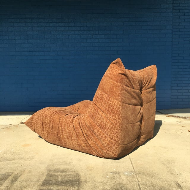 Mid-Century Modern Vintage Togo Fireside Chair With Custom Faux Alligator Suede For Sale - Image 3 of 13