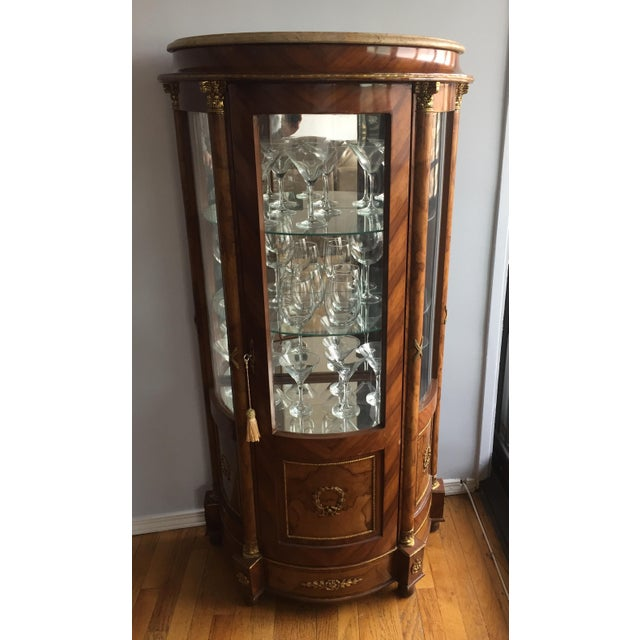Burlwood Mirrored Curio Cabinet - Image 7 of 8