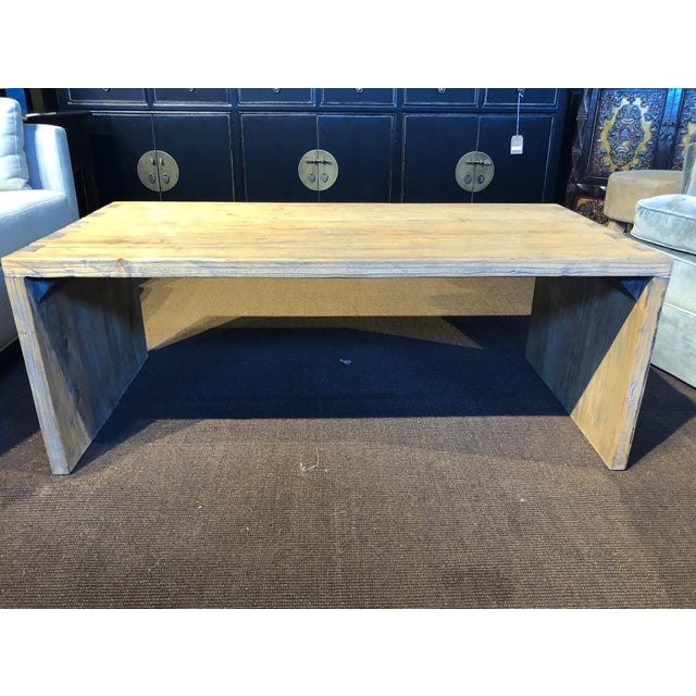 Wood Washed Elm Wood Coffee Table For Sale - Image 7 of 7