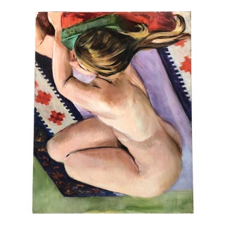Vintage Original Female Nude in Interior Painting 1970's For Sale