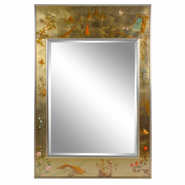 1970s Labarge Chinoiserie Hand-Painted Églomisé Mirror For Sale - Image 5 of 5