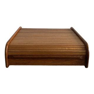 Mid Century Teak Table Top Storage Case With Tambour Door For Sale