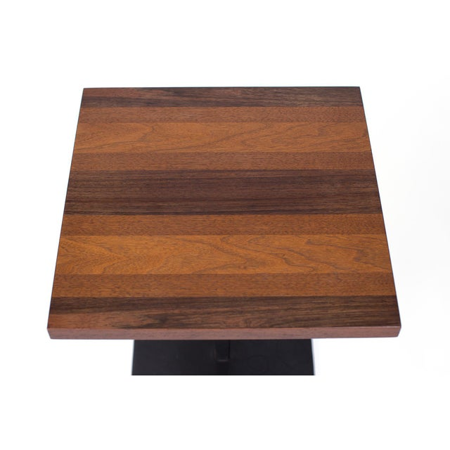 Milo Baughman for Thayer Coggin iron and wood side table, circa early 1970s. This seldom seen example has a walnut, maple,...