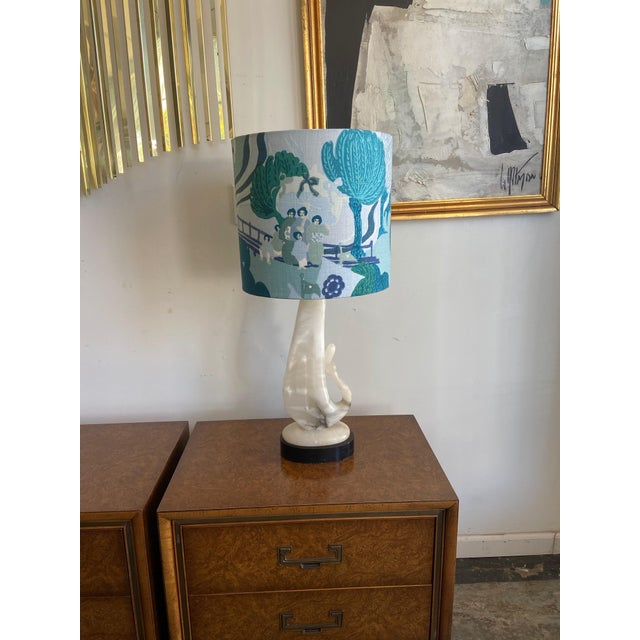 Vintage 1940's - Onyx / Alabaster Lamp with custom shade made with a gorgeous Schumacher blue/green fabric...five lovely...