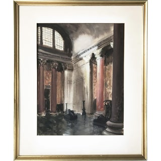 A.J. Broder 1940s Interior Watercolor For Sale