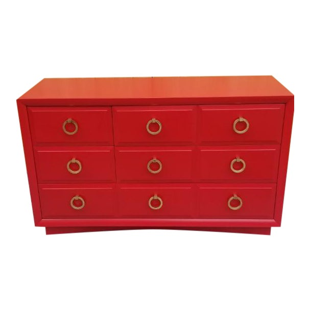 Mid Century Modern t.h. Robsjohn-Gibbings for Widdicomb Credenza Dresser Freshly Painted in Red Paint For Sale
