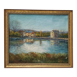 French Normandy Landscape With Houses by Guillaumin C.1948 For Sale