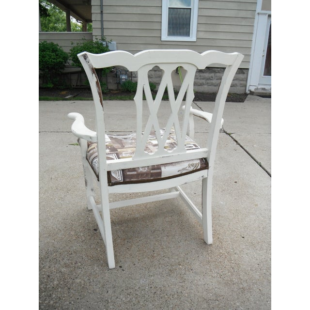 Shabby Chic Chippendale Style Captains Chair - Image 6 of 8