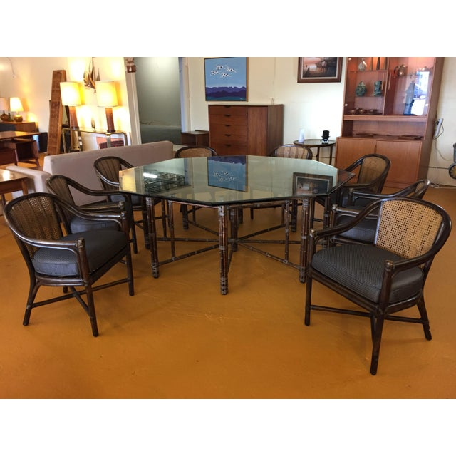 Brown McGuire Octagonal Bamboo and Glass Dining Table and Matching McGuire Rattan Chairs -Set of 8 For Sale - Image 8 of 13