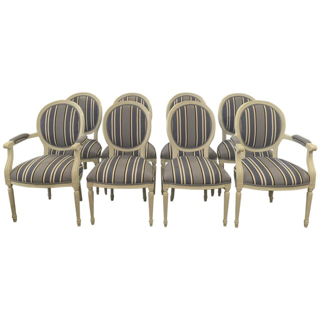 Blue & White Striped Cameo Chairs - Set of 8 - Image 1 of 10
