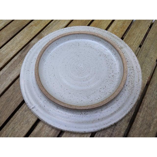 Midcentury Modern Round Glazed Pottery Pedestal Platter For Sale - Image 12 of 13
