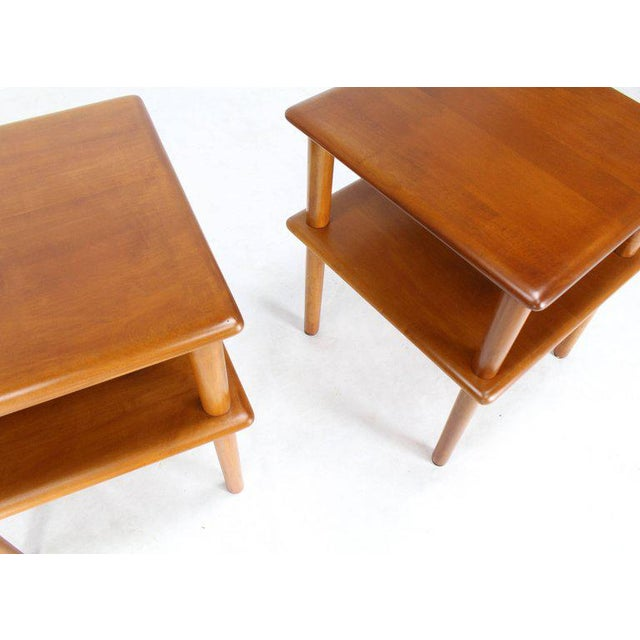 Pair of Square Solid Maple Two-Tier End Side Tables For Sale In New York - Image 6 of 7