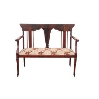1940s Vintage Ralph Lauren Upholstered Georgian Style Bench For Sale