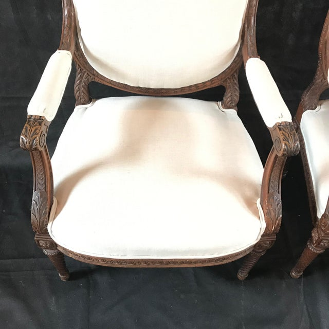 French Carved Walnut Armchairs - a Pair For Sale - Image 4 of 11