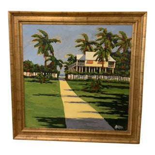 Coastal Tropical Painting Framed For Sale