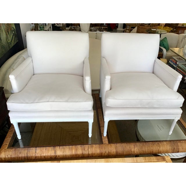 French French 1940's Louis XVI Club Chairs in New Sunbrella Upholstery- a Pair For Sale - Image 3 of 11