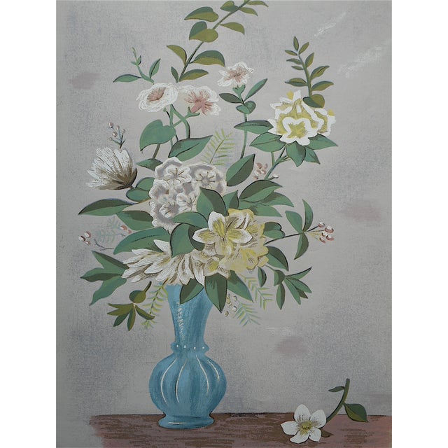 Vintage Silkscreen Blue Vase With Bouquet For Sale - Image 5 of 5