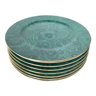 Vintage Neiman Marcus Malachite Charger Plates - Set of 8 For Sale
