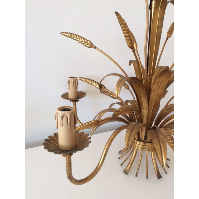 Vintage Hollywood Regency Gilt Wheat Metal Chandelier - Image 9 of 10