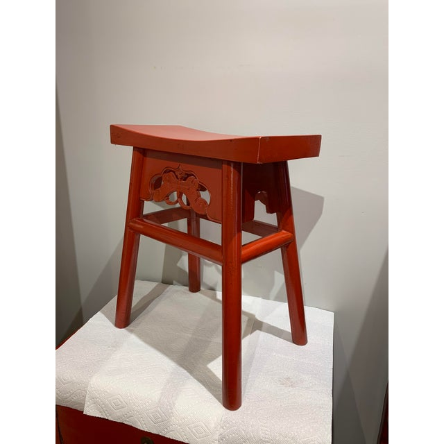 This red stool is great for any room, the butterfly design is what makes this stool more unique.