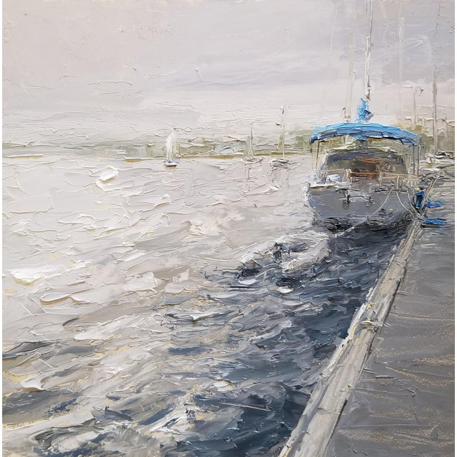 """Paint Beckham Framed Oil Painting """"Morning View"""", Contemporary Blue Seascape For Sale - Image 7 of 7"""