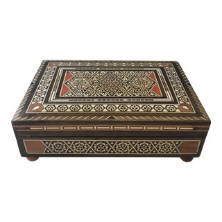 1950s Moroccan Velvet Inlaid Wooden Box