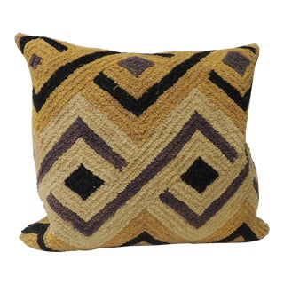 Tribal Woven and Embroidery African Decorative Square Artisanal Textile Pillow For Sale