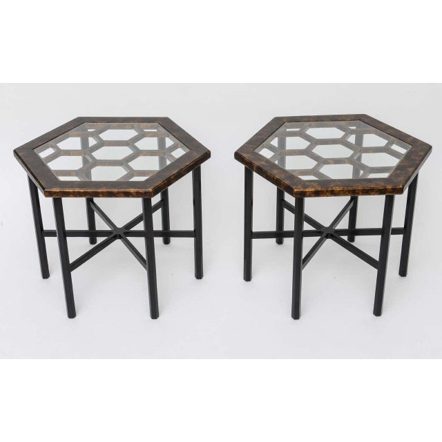 Urbane, sleek and posh darling. Occasional tables or side tables, this pair from John Widdicomb have a great hexagonal...
