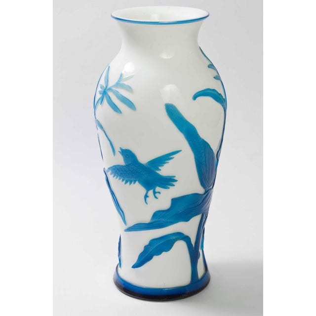 Chinese Early 20th Century Turquoise Cut to White Peking Glass Vase For Sale - Image 3 of 3