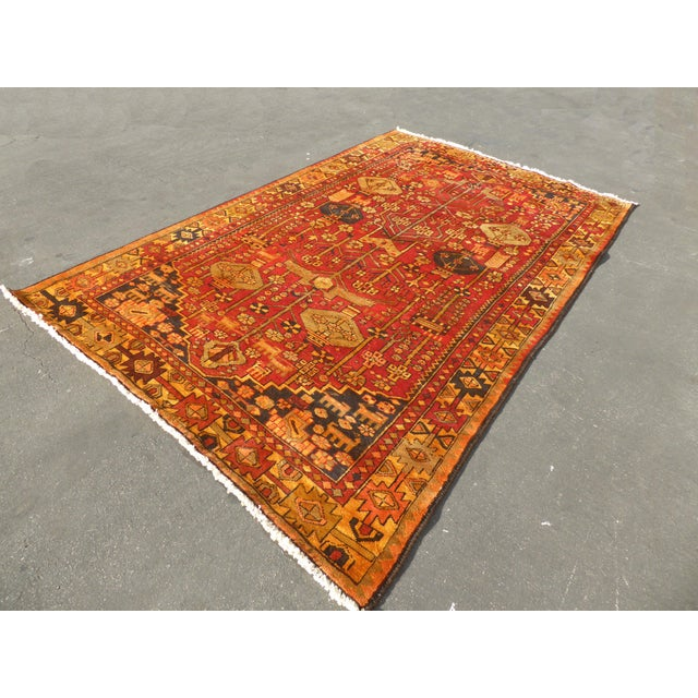 "Vintage Turkish Geometric Pattern Red & Orange Rug - 9'8"" X 6' - Image 4 of 11"