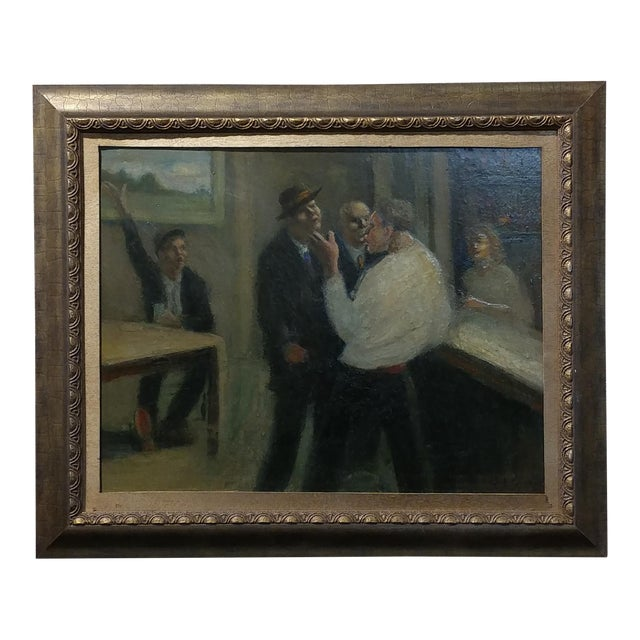 C.H Kelly - Tavern Scene -California Regionalist -Oil painting c.1930s For Sale