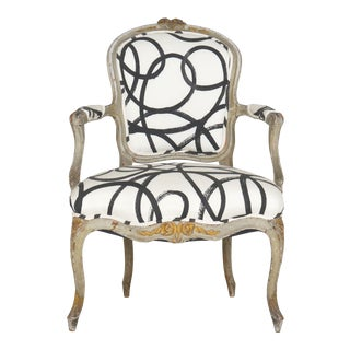 18th Century Antique French Louis XV Period Gray Painted Arm Chair For Sale