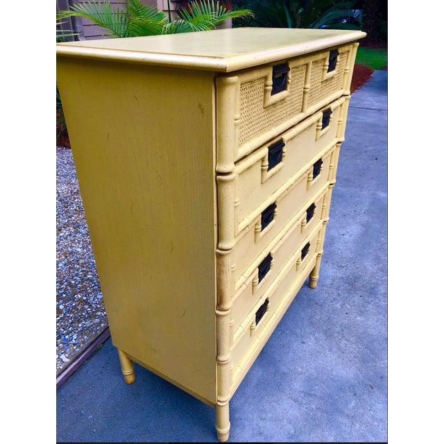 I was thrilled to find this vintage campaign style chest of drawers in its original condition. The yellow finish is...